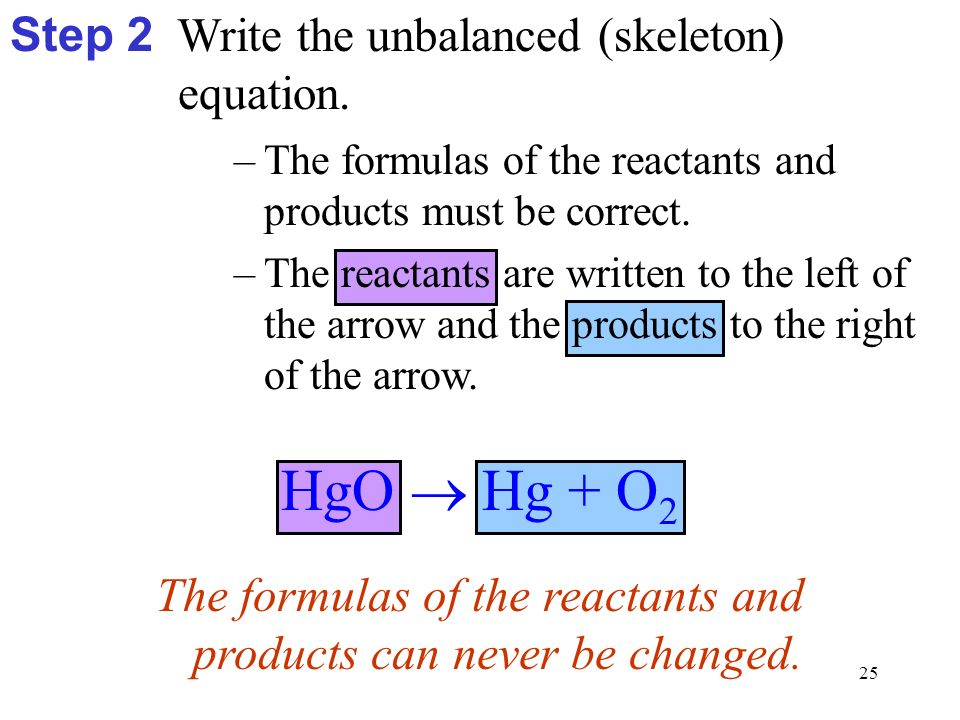 25 HgO  Hg + O 2 –The formulas of the reactants and products must be correct.