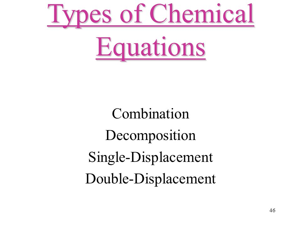 46 Combination Decomposition Single-Displacement Double-Displacement Types of Chemical Equations