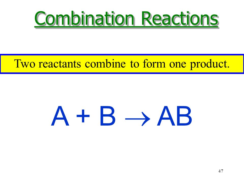 47 A + B  AB Two reactants combine to form one product. Combination Reactions