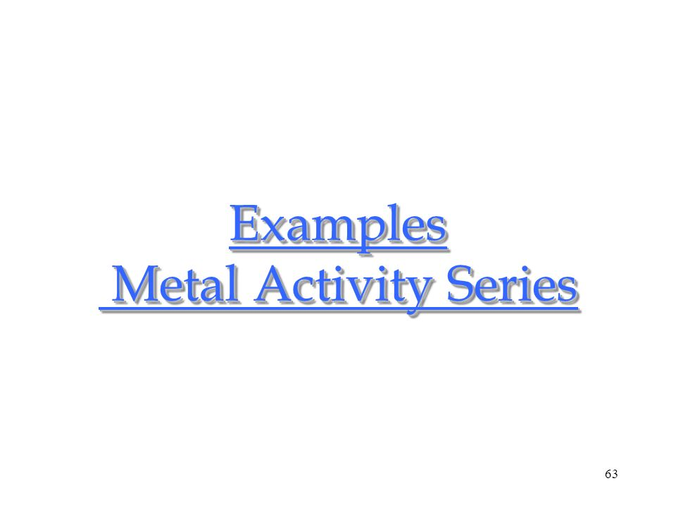 63 Examples Metal Activity Series