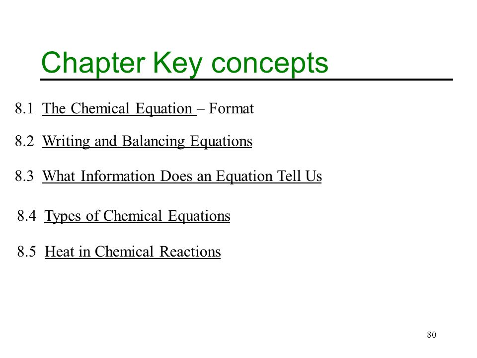 80 Chapter Key concepts 8.1 The Chemical Equation – FormatThe Chemical Equation 8.2 Writing and Balancing EquationsWriting and Balancing Equations 8.3 What Information Does an Equation Tell UsWhat Information Does an Equation Tell Us 8.4 Types of Chemical EquationsTypes of Chemical Equations 8.5 Heat in Chemical ReactionsHeat in Chemical Reactions