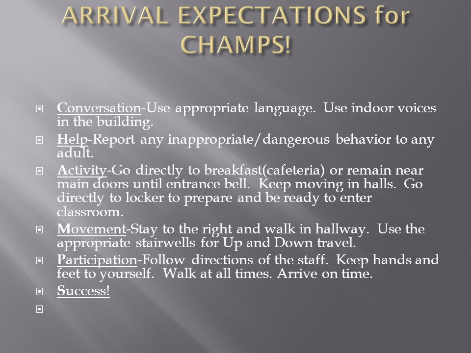  C onversation-Use appropriate language. Use indoor voices in the building.