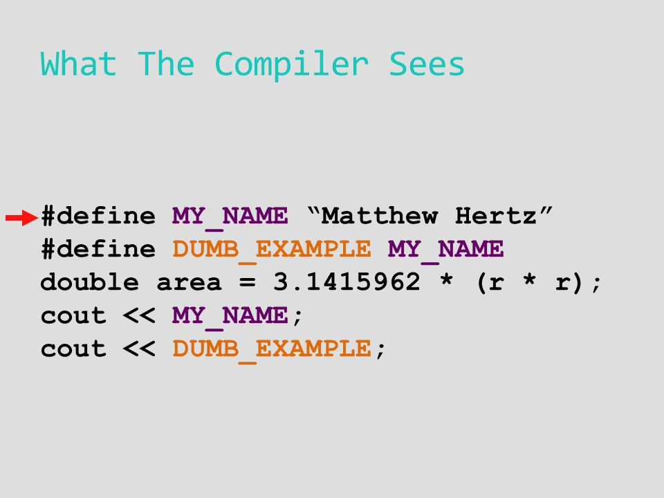 What The Compiler Sees #define MY_NAME Matthew Hertz #define DUMB_EXAMPLE MY_NAME double area = * (r * r); cout << MY_NAME; cout << DUMB_EXAMPLE;