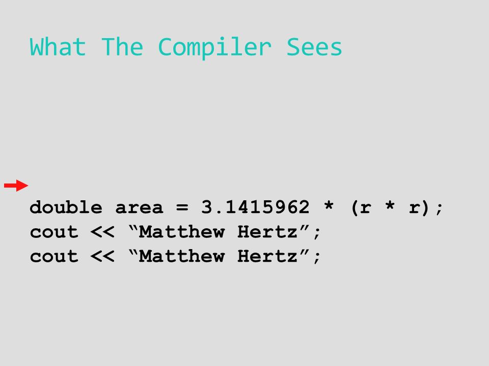 What The Compiler Sees double area = * (r * r); cout << Matthew Hertz ; cout << Matthew Hertz ;