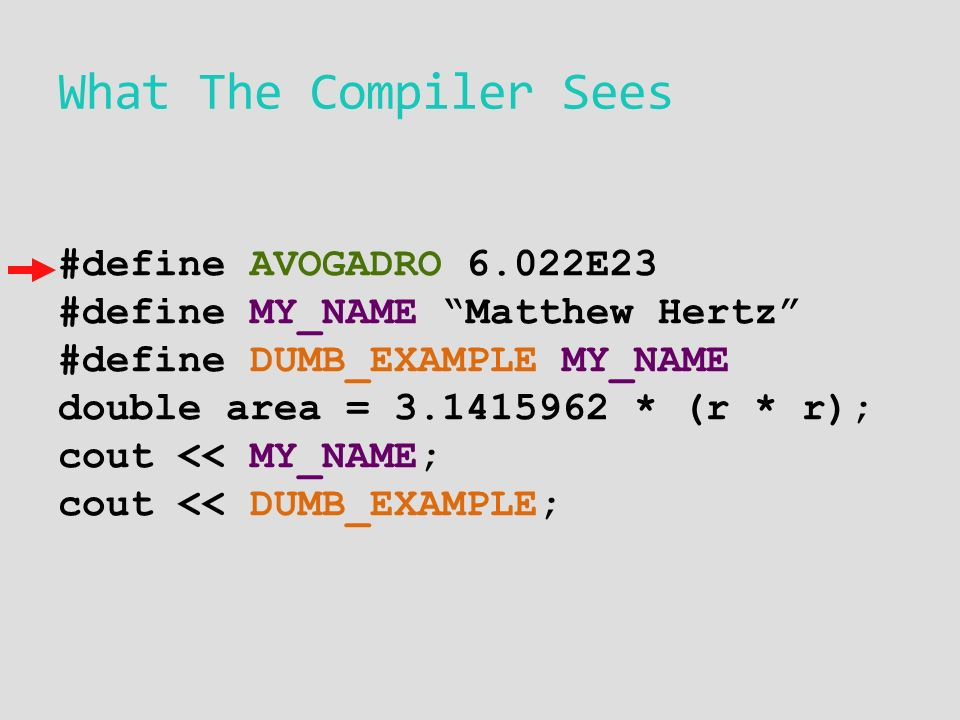 What The Compiler Sees #define AVOGADRO 6.022E23 #define MY_NAME Matthew Hertz #define DUMB_EXAMPLE MY_NAME double area = * (r * r); cout << MY_NAME; cout << DUMB_EXAMPLE;