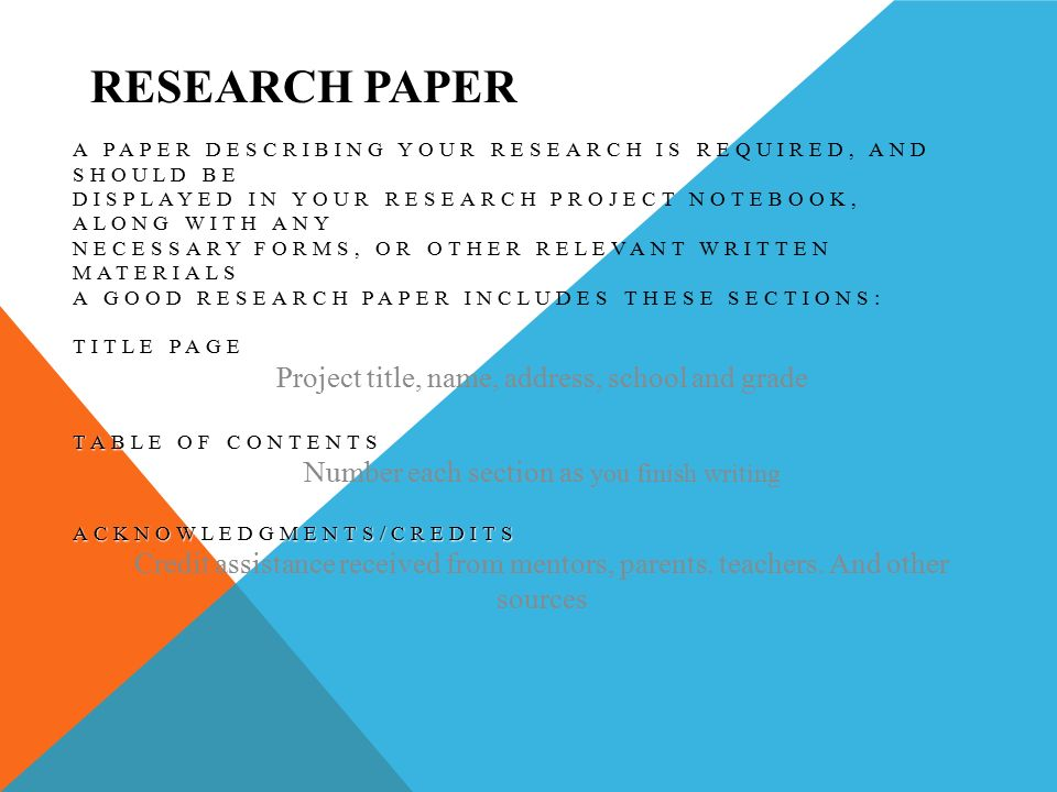 research project title page