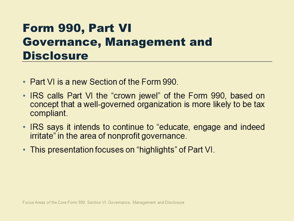 Focus Areas Of Core Form 990 Section Vi Governance Management And