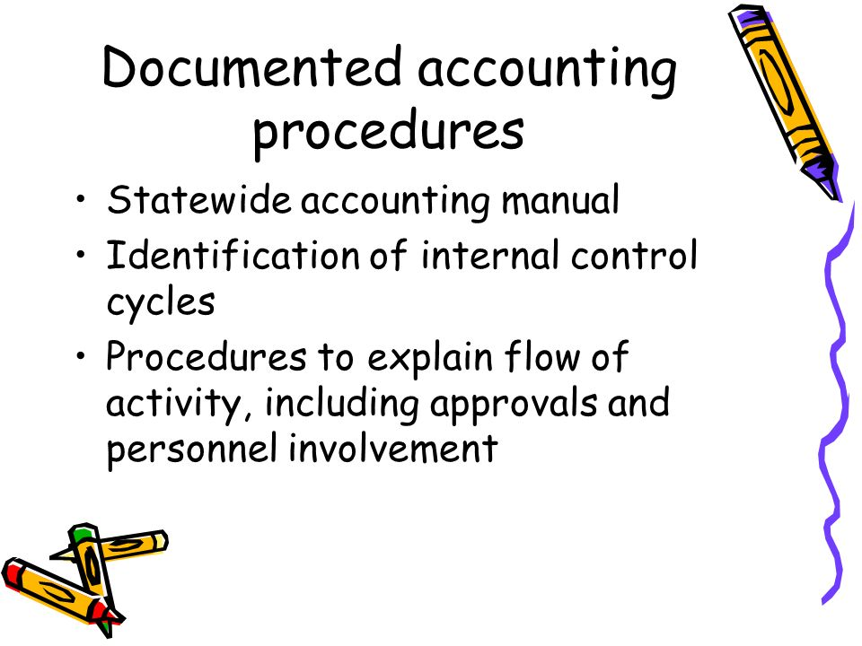 Documented accounting procedures Statewide accounting manual Identification of internal control cycles Procedures to explain flow of activity, including approvals and personnel involvement