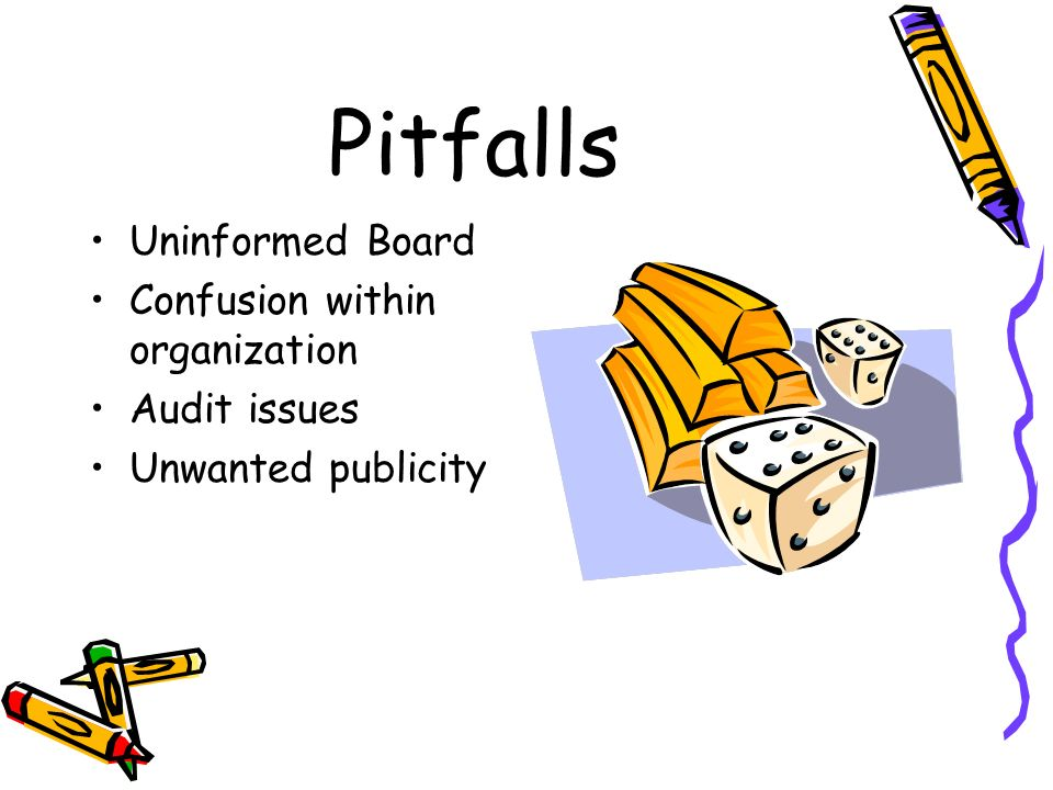 Pitfalls Uninformed Board Confusion within organization Audit issues Unwanted publicity