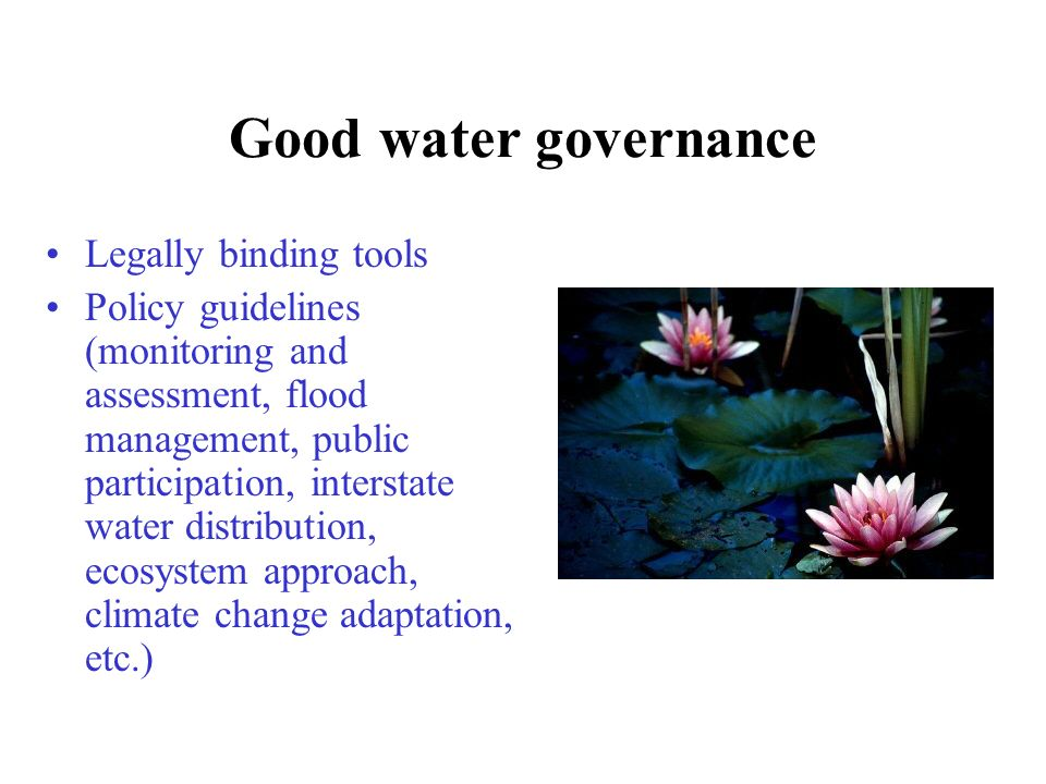 Good water governance Legally binding tools Policy guidelines (monitoring and assessment, flood management, public participation, interstate water distribution, ecosystem approach, climate change adaptation, etc.)