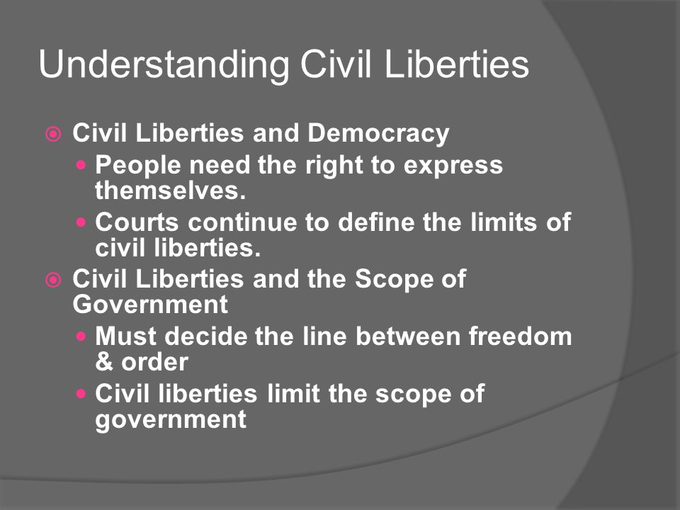 Understanding Civil Liberties  Civil Liberties and Democracy People need the right to express themselves.