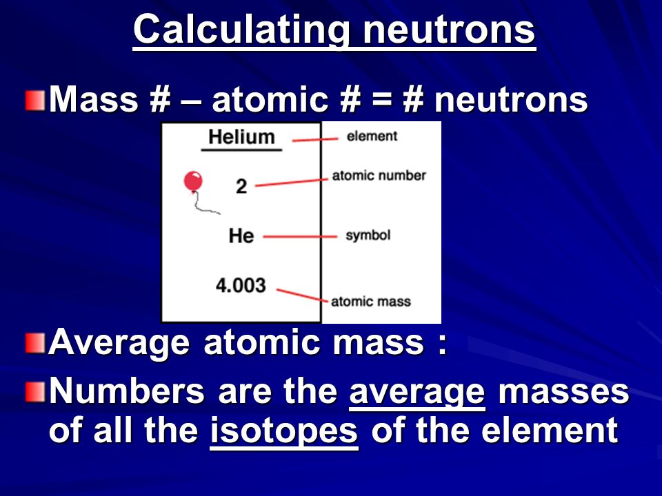 Calculating neutrons Mass # – atomic # = # neutrons Average atomic mass : Numbers are the average masses of all the isotopes of the element