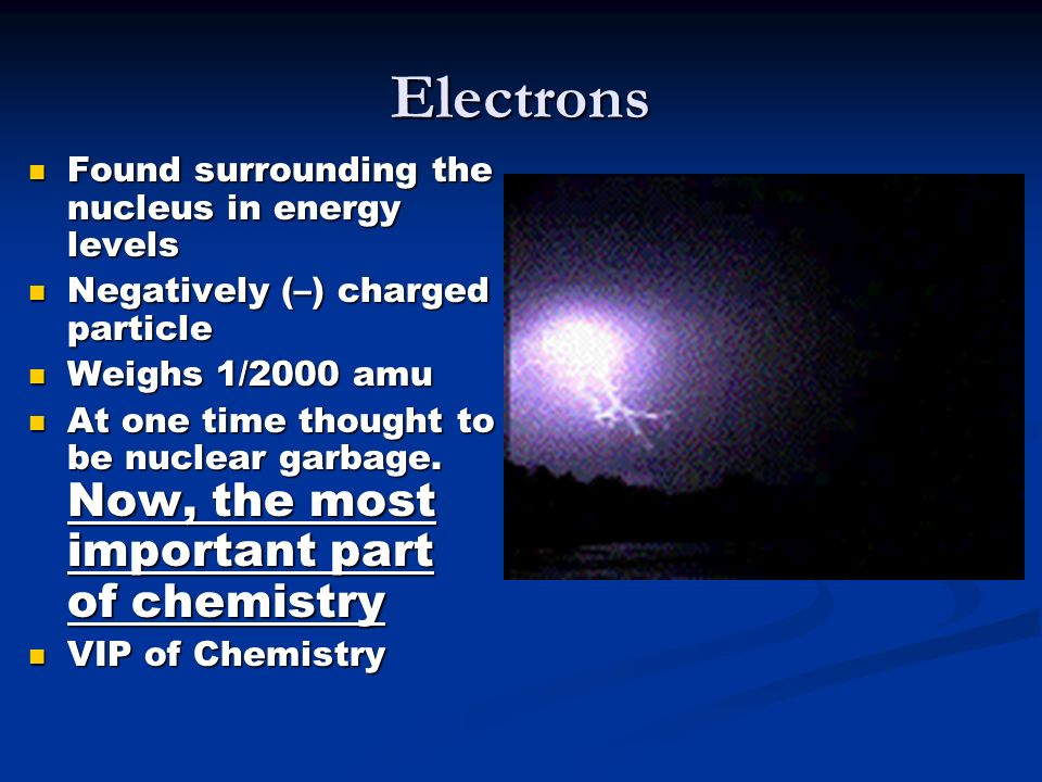 Electrons Found surrounding the nucleus in energy levels Found surrounding the nucleus in energy levels Negatively (–) charged particle Negatively (–) charged particle Weighs 1/2000 amu Weighs 1/2000 amu At one time thought to be nuclear garbage.