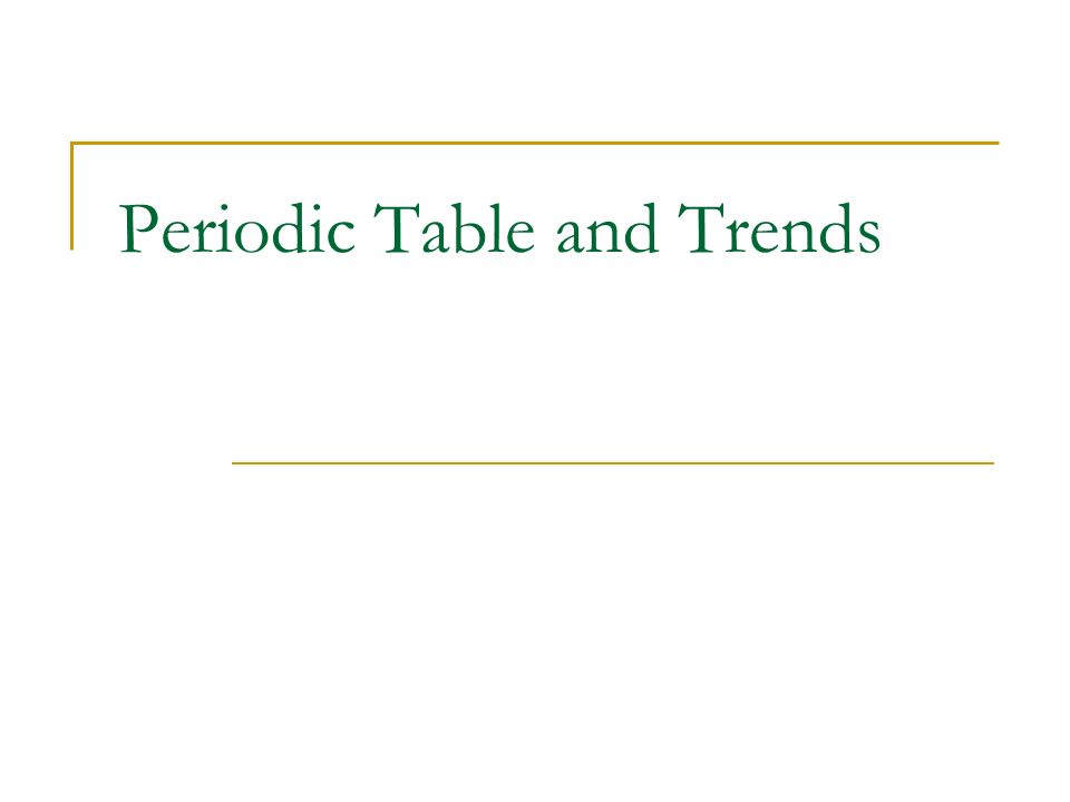 Periodic Table And Trends Organization Of The Periodic Table 1