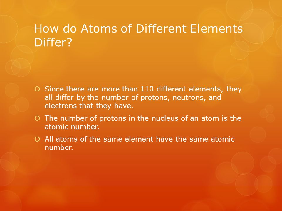 How do Atoms of Different Elements Differ.