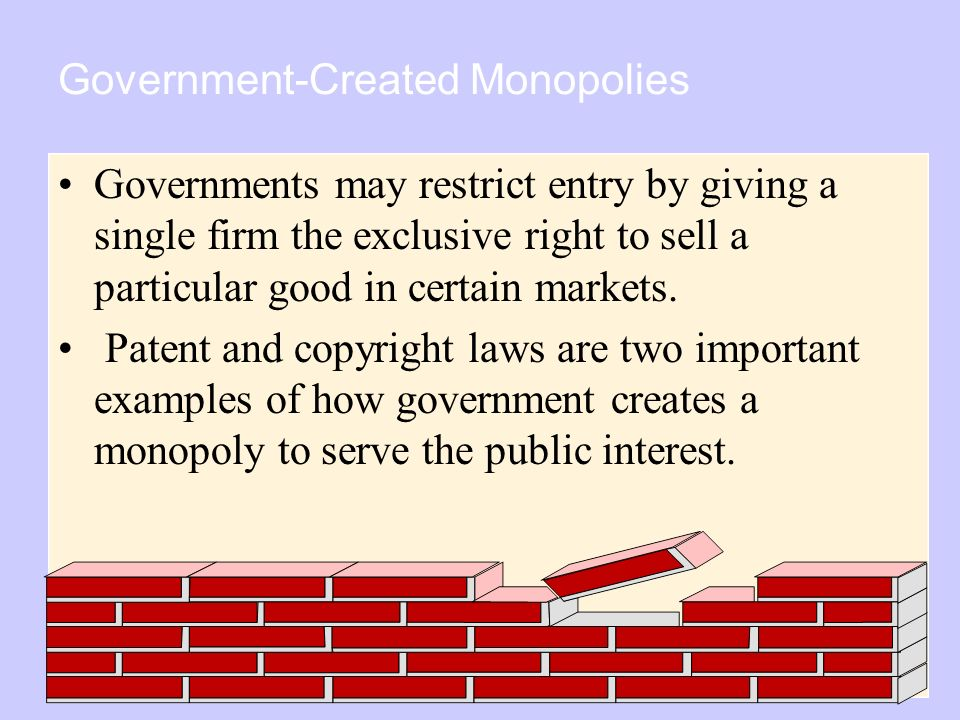Copyright © 2004 South-Western Government-Created Monopolies Governments may restrict entry by giving a single firm the exclusive right to sell a particular good in certain markets.