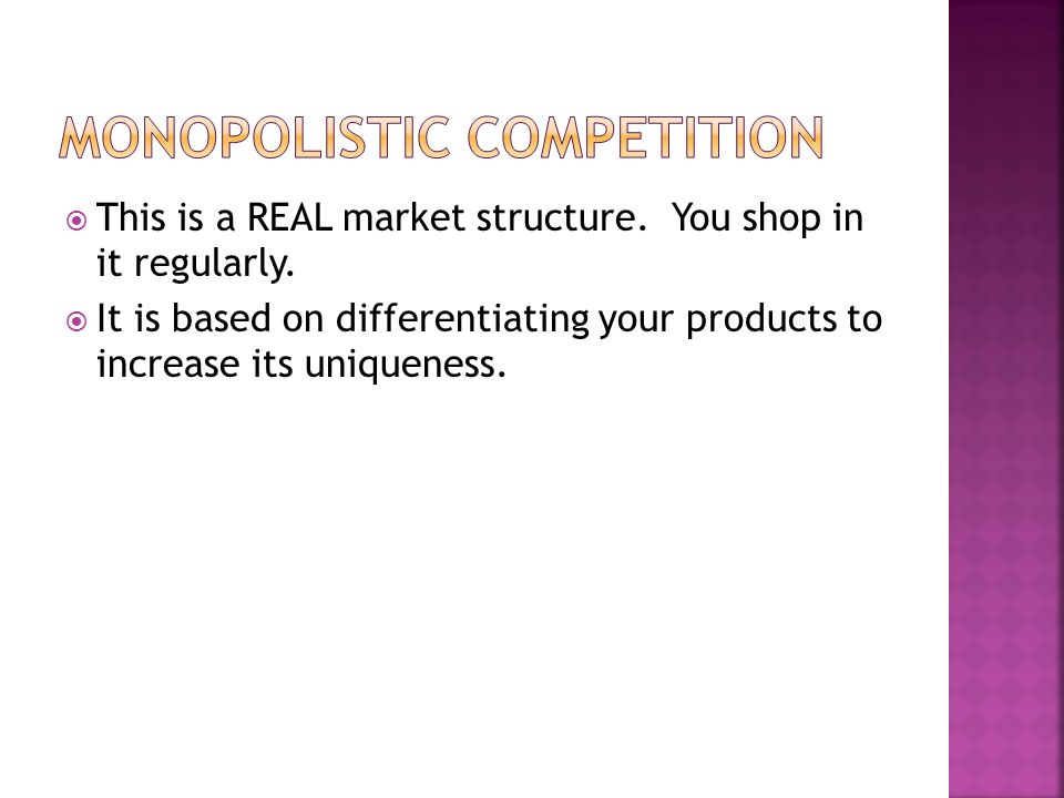  This is a REAL market structure. You shop in it regularly.
