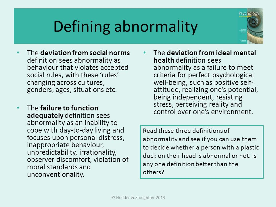 Abnormal psychology Concepts and diagnosis © Hodder