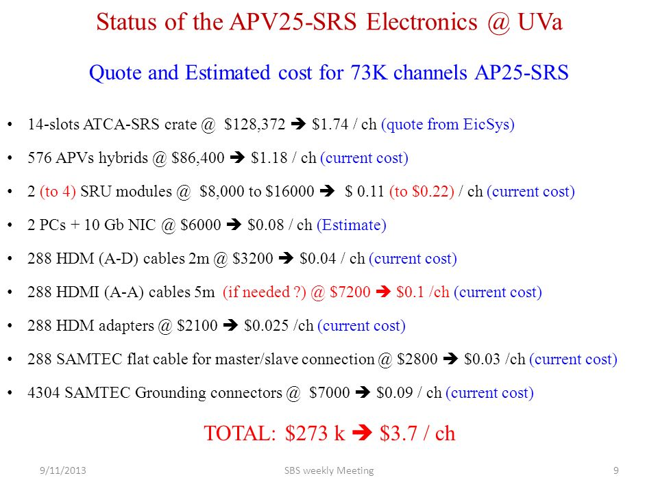 Quote and Estimated cost for 73K channels AP25-SRS Status of the APV25-SRS UVa 14-slots ATCA-SRS $128,372  $1.74 / ch (quote from EicSys) 576 APVs $86,400  $1.18 / ch (current cost) 2 (to 4) SRU $8,000 to $16000  $ 0.11 (to $0.22) / ch (current cost) 2 PCs + 10 Gb $6000  $0.08 / ch (Estimate) 288 HDM (A-D) cables $3200  $0.04 / ch (current cost) 288 HDMI (A-A) cables 5m (if needed $7200  $0.1 /ch (current cost) 288 HDM $2100  $0.025 /ch (current cost) 288 SAMTEC flat cable for master/slave $2800  $0.03 /ch (current cost) 4304 SAMTEC Grounding $7000  $0.09 / ch (current cost) TOTAL: $273 k  $3.7 / ch 9/11/2013SBS weekly Meeting9
