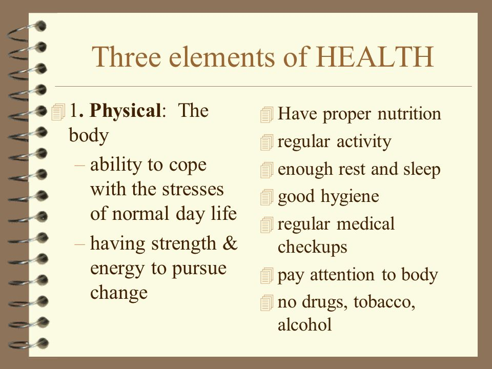 Three elements of HEALTH 4 1.