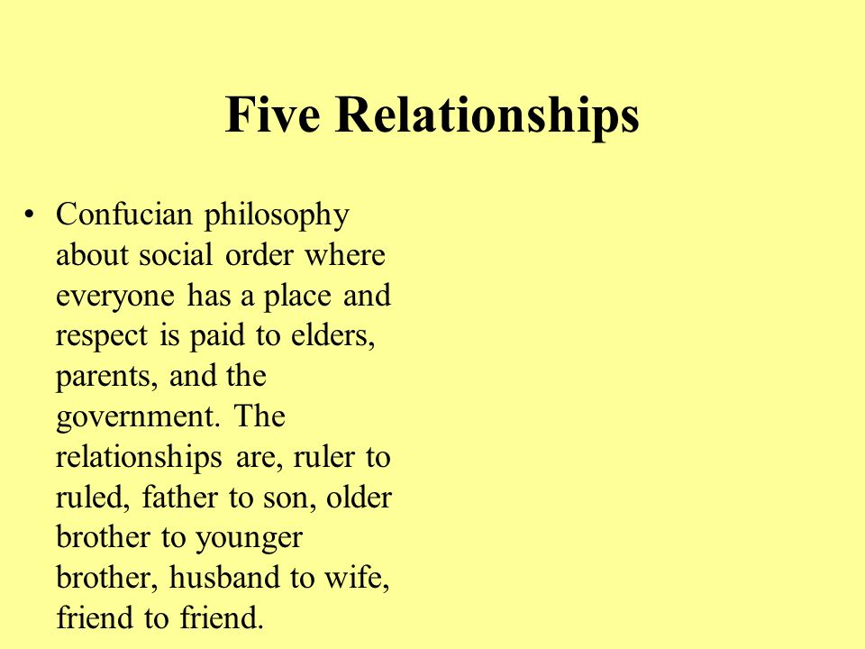 Five Relationships Confucian philosophy about social order where everyone has a place and respect is paid to elders, parents, and the government.