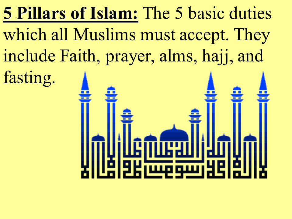 5 Pillars of Islam: 5 Pillars of Islam: The 5 basic duties which all Muslims must accept.