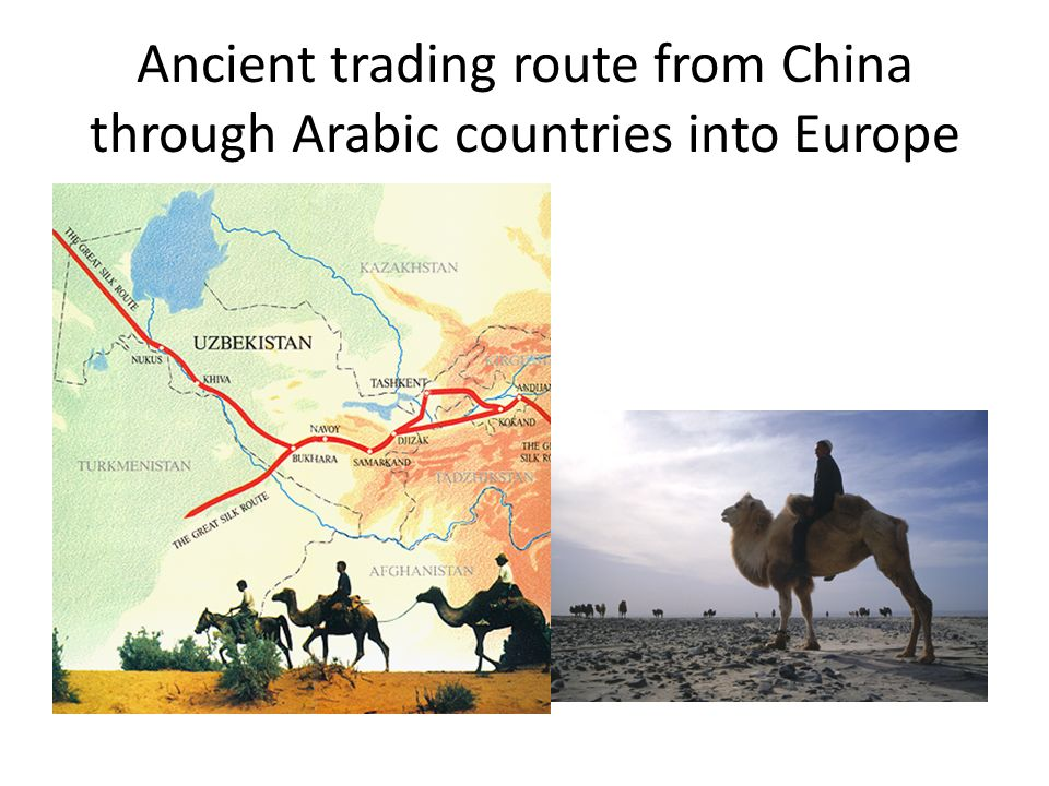 Ancient trading route from China through Arabic countries into Europe
