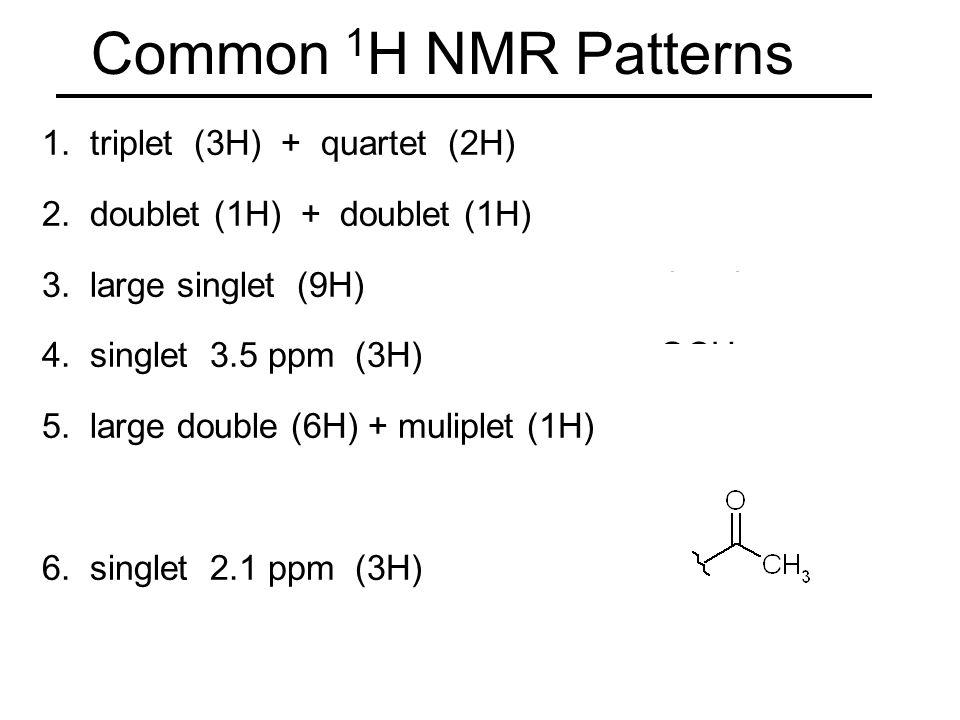 Common 1 H Nmr Patterns 1 Triplet 3h Quartet 2h Ch 2 Ch 3