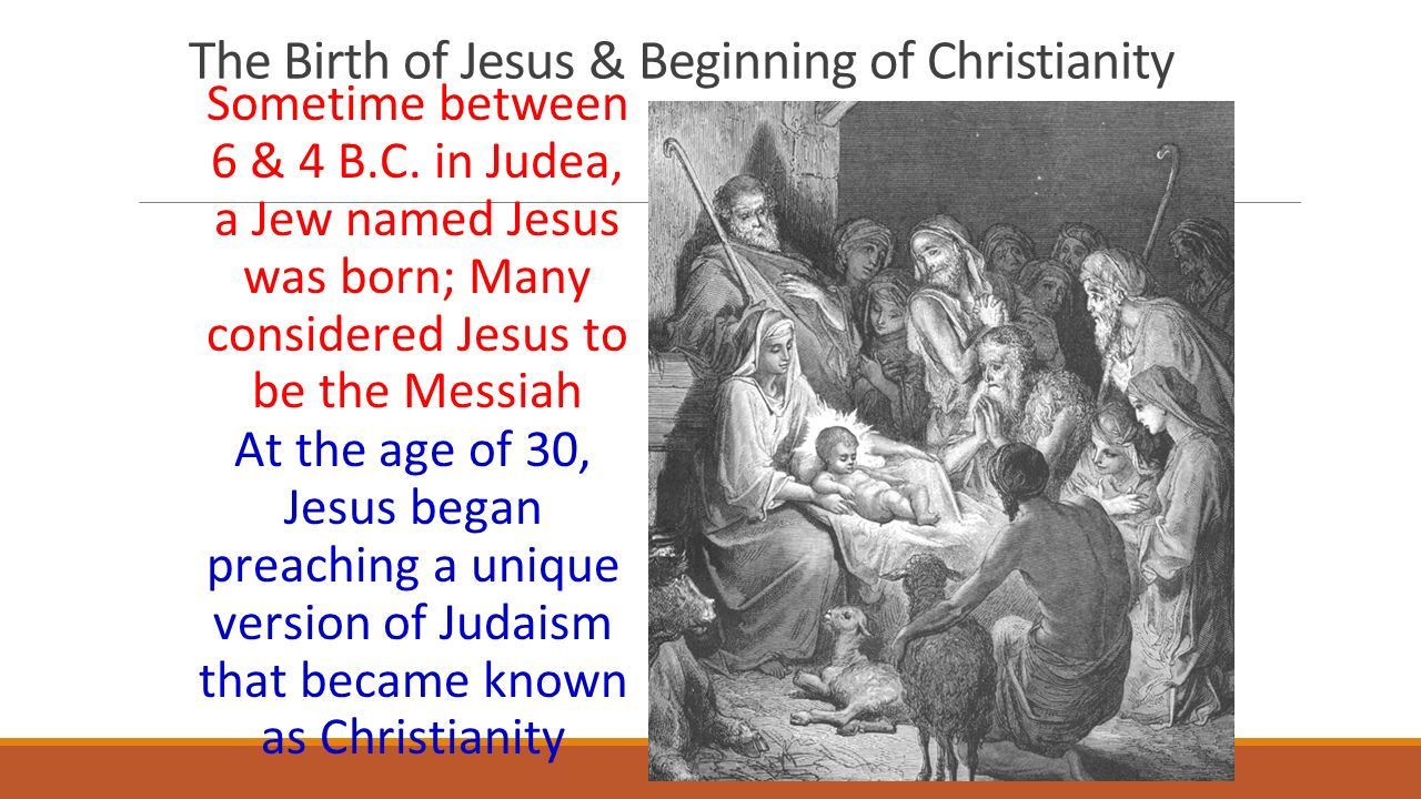 The Birth of Jesus & Beginning of Christianity Sometime between 6 & 4 B.C.