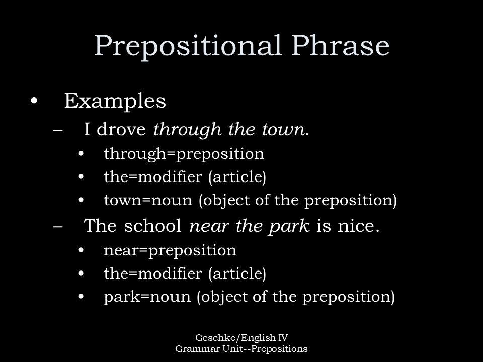 Geschke/English IV Grammar Unit--Prepositions Prepositional Phrase Examples –I drove through the town.