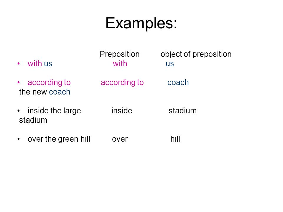 7 Examples Preposition Object Of With Us According To Coach The New Inside Large Stadium Over Green