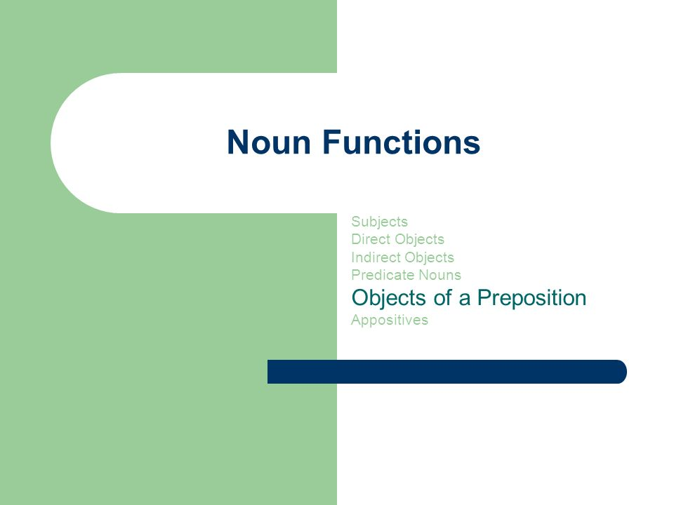Noun Functions Subjects Direct Objects Indirect Objects Predicate Nouns Objects of a Preposition Appositives