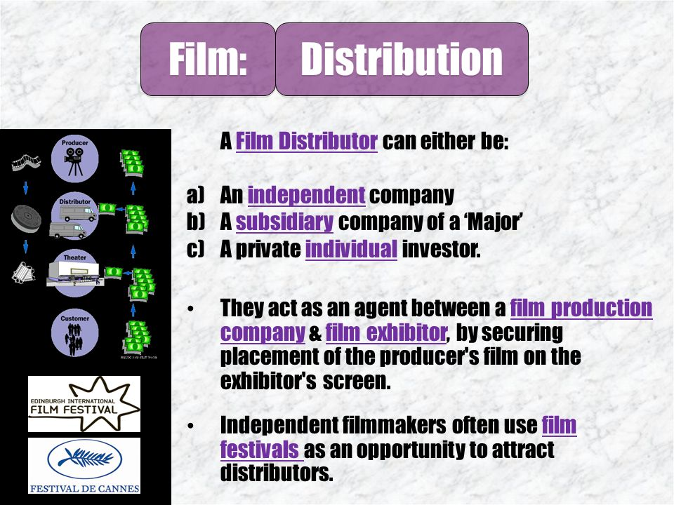 Film: Distribution  1 The Majors Film: 2 Independents 3
