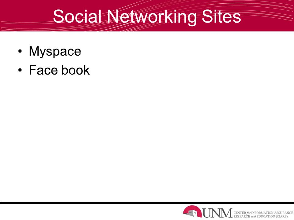 Social Networking Sites Myspace Face book