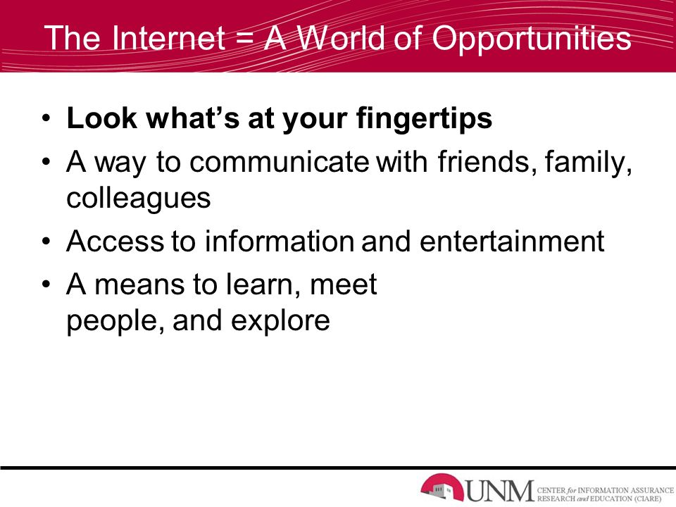 The Internet = A World of Opportunities Look what's at your fingertips A way to communicate with friends, family, colleagues Access to information and entertainment A means to learn, meet people, and explore