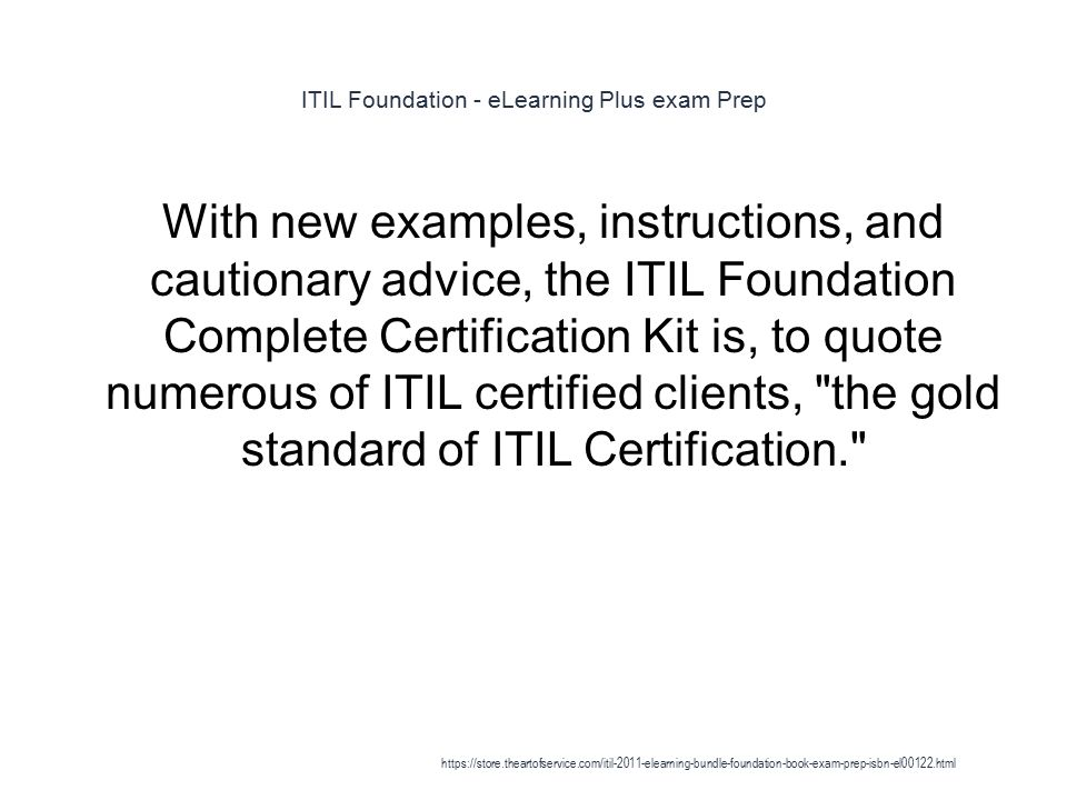 Itil Foundation Elearning Plus Exam Prep 1 Get Everything You Need