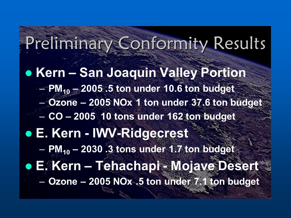 Preliminary Conformity Results Kern – San Joaquin Valley Portion –PM 10 – ton under 10.6 ton budget –Ozone – 2005 NOx 1 ton under 37.6 ton budget –CO – tons under 162 ton budget E.