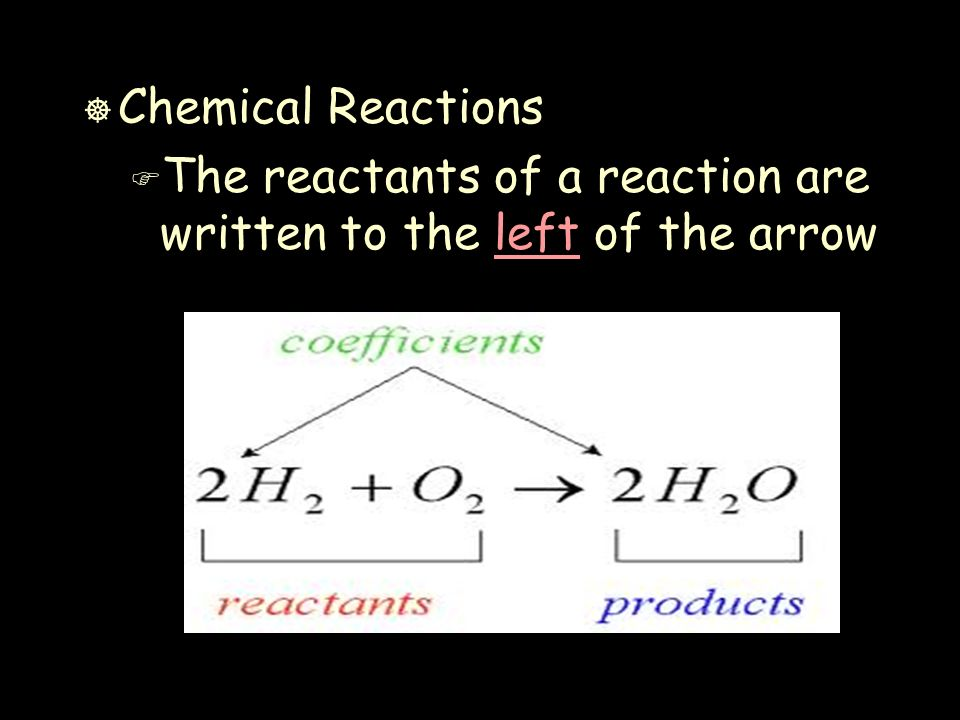 ] Chemical Reactions F The reactants of a reaction are written to the left of the arrow