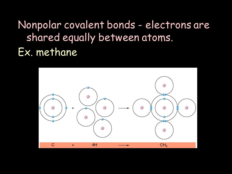 Nonpolar covalent bonds - electrons are shared equally between atoms. Ex. methane