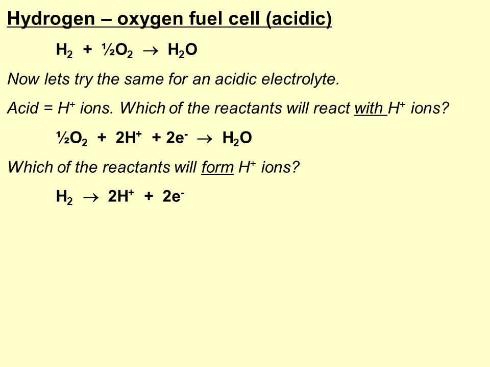 Fuel cells Learning objectives: Revise the work covered so far on