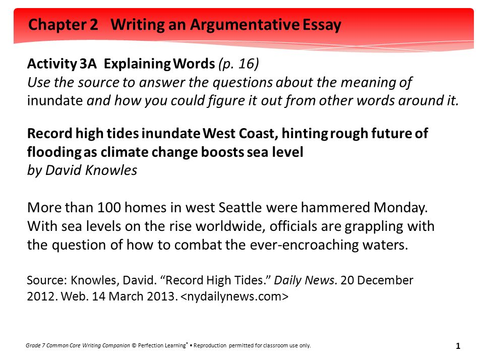 chapter 2 writing an argumentative essay grade 7 common core writing companion perfection learning
