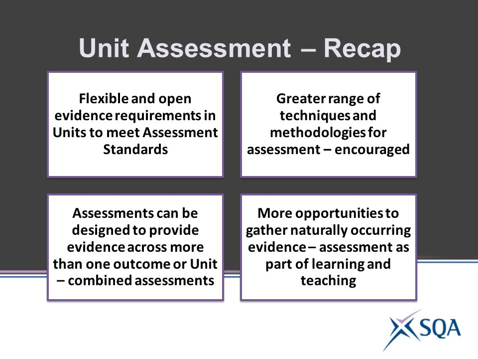 Unit Assessment – Recap Flexible and open evidence requirements in Units to meet Assessment Standards Greater range of techniques and methodologies for assessment – encouraged Assessments can be designed to provide evidence across more than one outcome or Unit – combined assessments More opportunities to gather naturally occurring evidence – assessment as part of learning and teaching