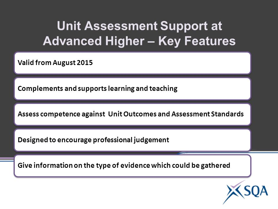 Unit Assessment Support at Advanced Higher – Key Features Valid from August 2015Complements and supports learning and teachingAssess competence against Unit Outcomes and Assessment StandardsDesigned to encourage professional judgementGive information on the type of evidence which could be gathered