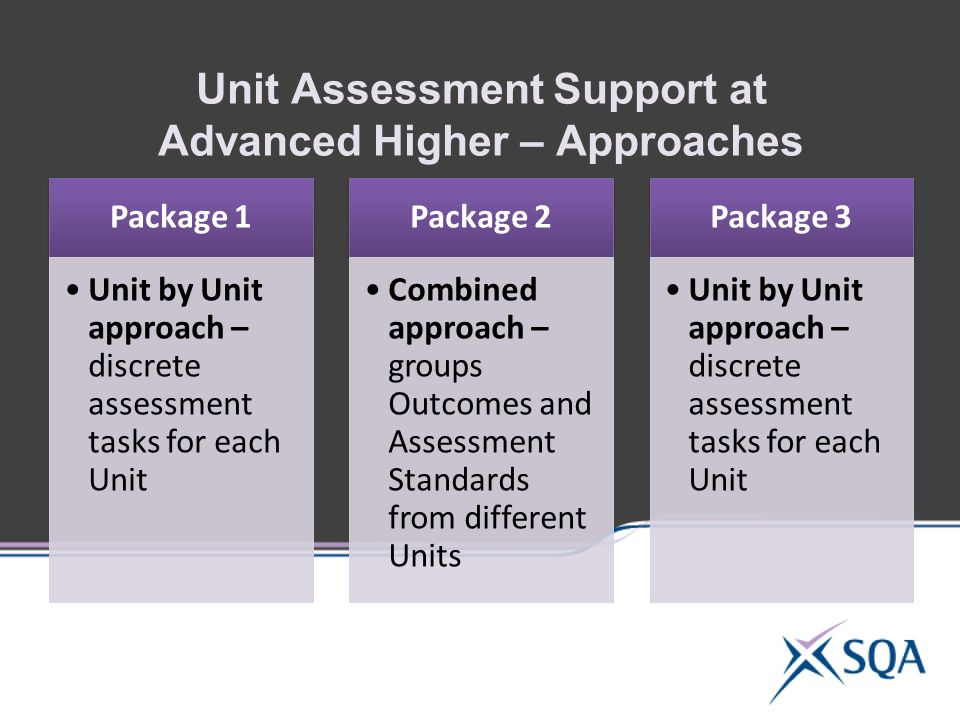 Unit Assessment Support at Advanced Higher – Approaches Package 1 Unit by Unit approach – discrete assessment tasks for each Unit Package 2 Combined approach – groups Outcomes and Assessment Standards from different Units Package 3 Unit by Unit approach – discrete assessment tasks for each Unit