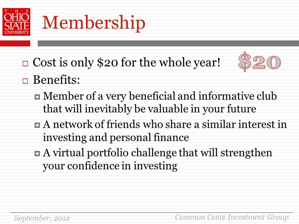 September 17 Th Common Cents Investment Group September 2012 Agenda