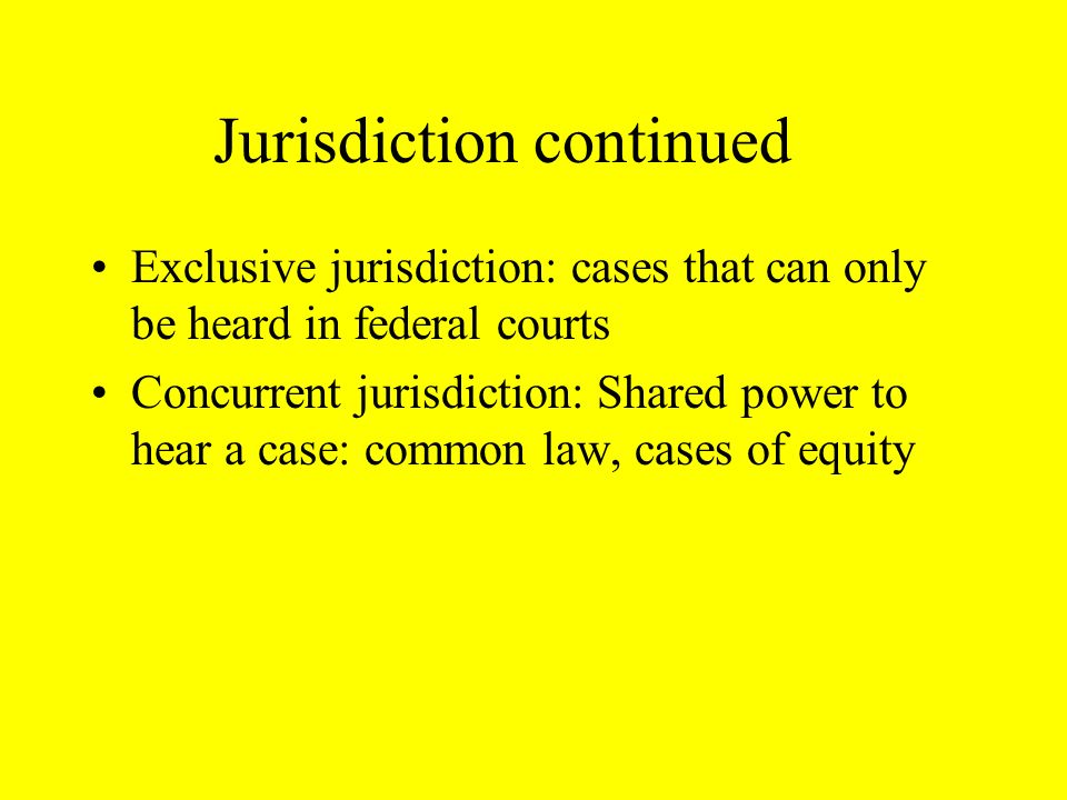 The Federal Courts have jurisdiction over the following areas The Constitution federal laws law of the high seas disputes involving the U.S.
