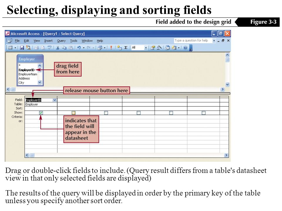 Selecting, displaying and sorting fields Drag or double-click fields to include.