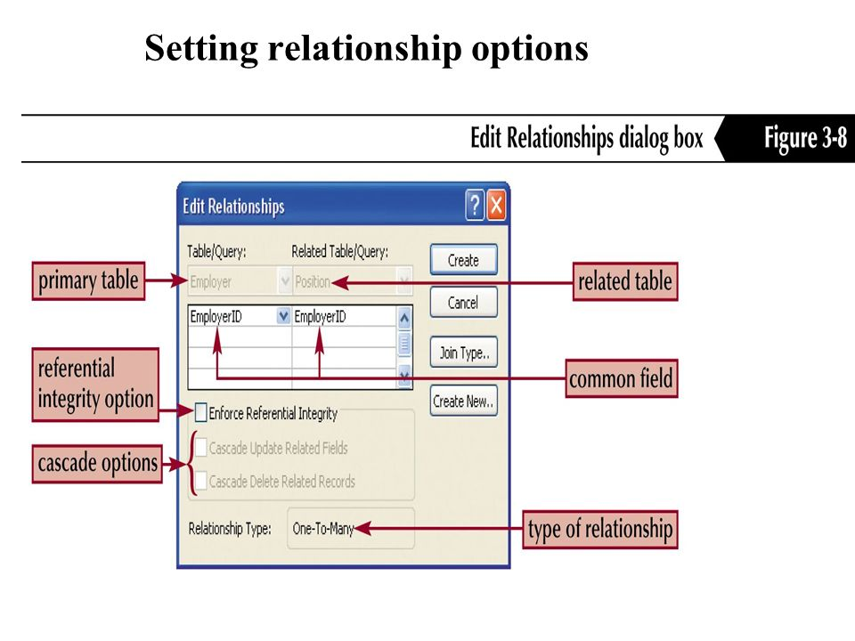 Setting relationship options