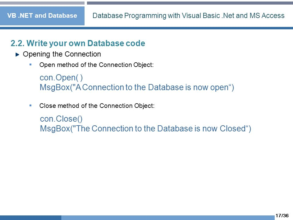 1/36 Database Programming with Visual Basic Net and MS