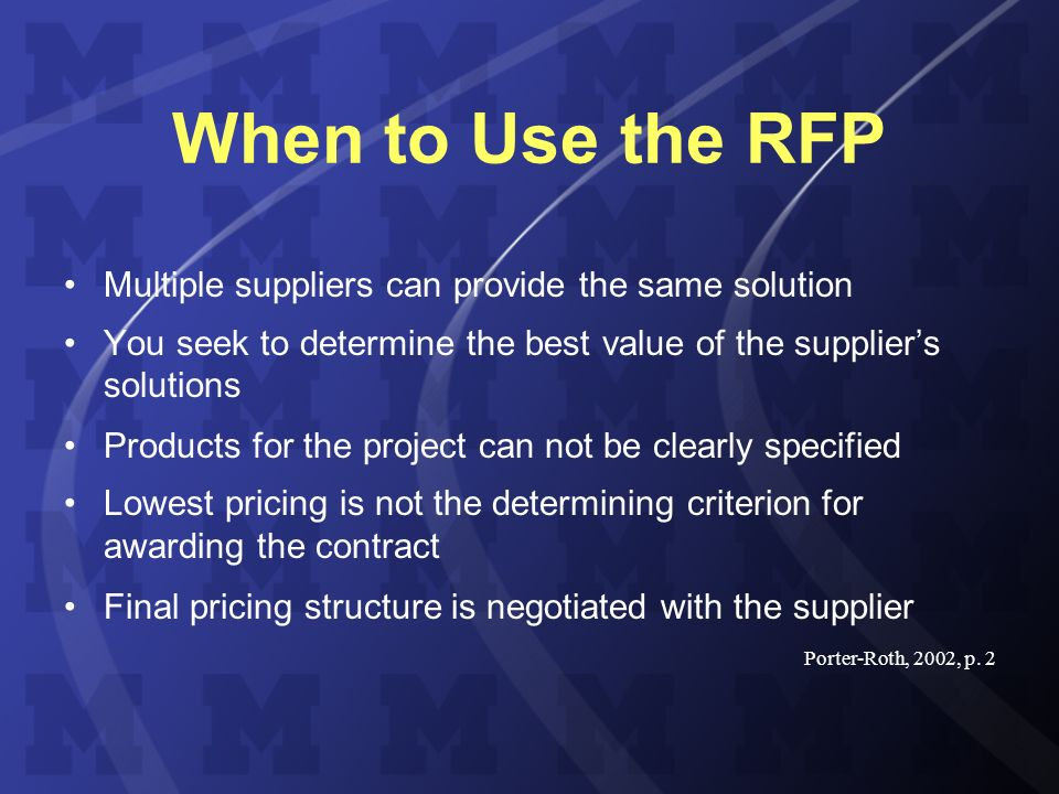 The RFP: How to Manage the Process Bob Yecke Assistant